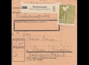 BiZone Paketkarte 1948: Wurmannsquick nach Haar bei München