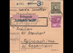 BiZone Paketkarte 1947: Mannheim nach Feilnbach, Dringend