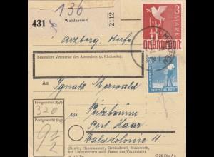 BiZone Paketkarte 1948: Waldsassen nach Putzbrunn Post Haar