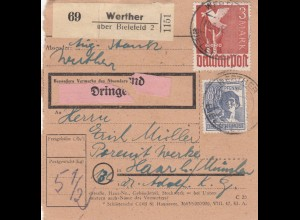 BiZone Paketkarte 1948: Werther über Bielefeld nach Haar, Dringend