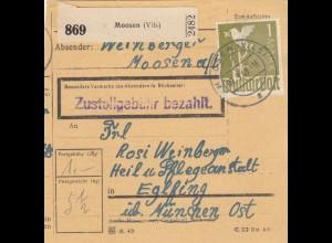 BiZone Paketkarte 1948: Moosen Vils nach Eglfing, Heilanstalt