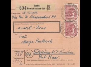 BiZone Paketkarte 1948: Berlin-Reinickendorf nach Putzbrunn, amerik. Zone
