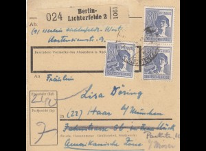 BiZone Paketkarte 1948: Berlin-Lichterfelde nach Haar bei München