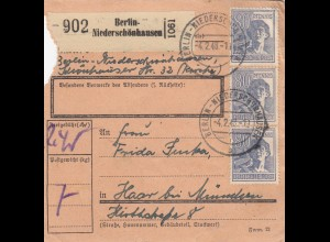 BiZone Paketkarte 1948: Berlin-Niederschönhausen nach Haar