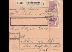 BiZone Paketkarte 1948: Berlin-Köpenick nach Hart a.d. Alz, Selbstbucher