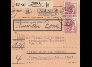 BiZone Paketkarte 1947: Berlin nach Haar, Selbstbucher, amerki. Zone