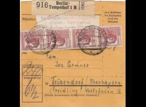 BiZone Paketkarte 1947: Berlin-Tempelhof nach Teisendorf, Freidling