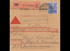 BiZone Paketkarte 1948: Bad Mergentheim nach Haar, Selbstbucher, Nachnahme