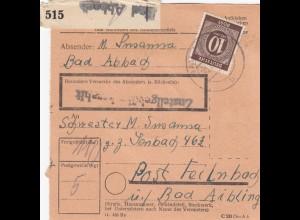 BiZone Paketkarte 1947: Bad Abbach nach Post Feilnbach über Bad Aibling