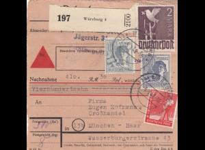 BiZone Paketkarte 1948: Würzburg 4 nach Haar, Großhandel, Nachnahme