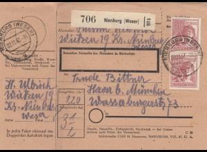 BiZone Paketkarte 1947: Wietzen Weser nach Haar, mit Doppel-Notpaketkarte