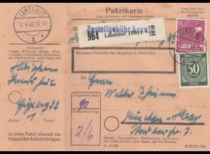 BiZone Paketkarte 1948: Landshut nach München-Haar, mit Doppel-Notpaketkarte
