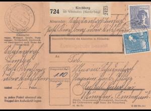 BiZone Paketkarte 1948: Riegelsberg Kirchberg n. Haar, mit Notpaketkarte
