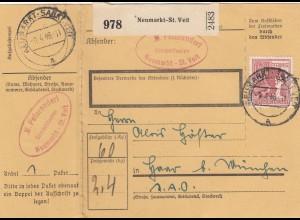 BiZone Paketkarte 1948: Neumarkt-St. Veit nach Haar, mit Doppel-Notpaketkarte