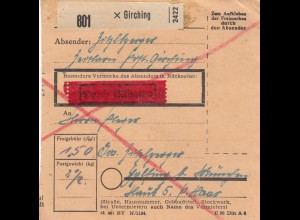 BiZone Paketkarte 1948: Girching nach Eglfing, Durch Eilboten