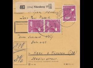 BiZone Paketkarte 1948: Nürnberg nach Haar bei München