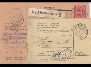 BiZone Paketkarte 1948: Wulften nach Seeshaupt, Nachsendung