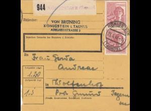 BiZone Paketkarte 1948: Königstein nach Wolfenhof, Post Gmund