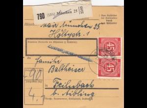 BiZone Paketkarte 1947: München nach Feilnbach b. Aibling