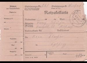 BiZone Paketkarte 1947: Aichach nach Eglfing, Notpaketkarte