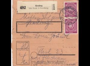 BiZone Paketkarte 1946: Mettendorf Greding nach Thal, Post Schönau