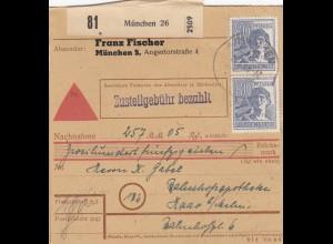 BiZone Paketkarte 1948: München nach Haar, Selbstbucher, Nachnahme