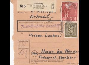 BiZone Paketkarte 1947: Ortenburg über Vielshofen nach Haar