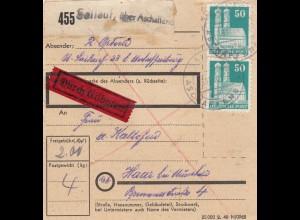 BiZone Paketkarte 1948: Sailauf über Aschaffenburg nach Haar, Durch Eilboten
