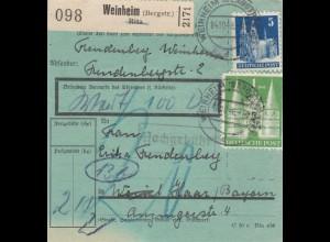 BiZone Paketkarte 1948: Weinheim nach Haar, Wertkarte, besonderes Formular