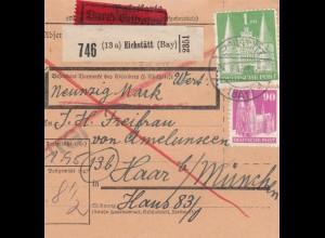 BiZone Paketkarte 1948: Eichstätt nach Haar, Wertkarte, Durch Eilboten