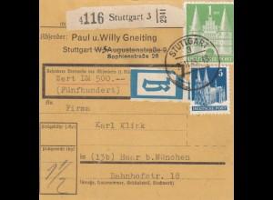 BiZone Paketkarte 1948: Stuttgart, Selbstbucher, Wertkarte, B-Aufkleber