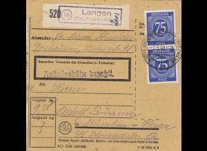 BiZone Paketkarte 1948: Erzhausen Langen Frankfurt nach Haar