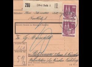 BiZone Paketkarte 1948: Selb nach Putzbrunn über Bahnstation Biberg, Nachgebühr