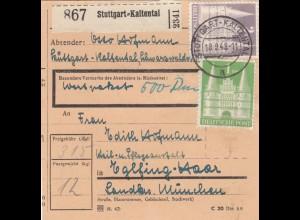 BiZone Paketkarte 1948: Stuttgart-Kaltental nach Eglfing, Anstalt, Wertkarte