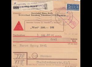 BiZone Paketkarte 1949: Rosenheim n. Mün., Selbstb., Nachn., Wertkarte, Notopfer