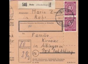 BiZone Paketkarte 1947: Rohr nach Bad Aibling, Doppel-Notpaketkarte aufgeklebt