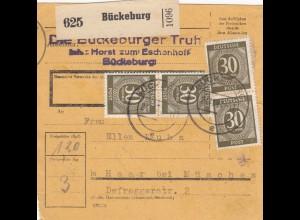 BiZone Paketkarte 1947: Bückeburg nach Haar bei München