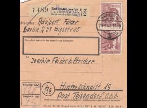 BiZone Paketkarte 1948: Berlin-Köpenick nach Hinterschnaitt, Selbstbucher
