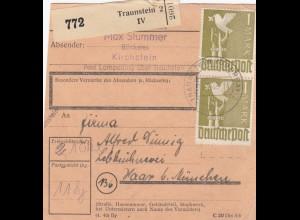 BiZone Paketkarte 1948: Kirchstein Traunstein nach Haar bei München