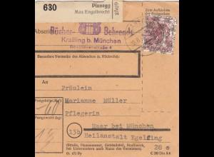 BiZone Paketkarte 1948: Planegg nach Haar, Selbstbucher, Heilanstalt Eglfing