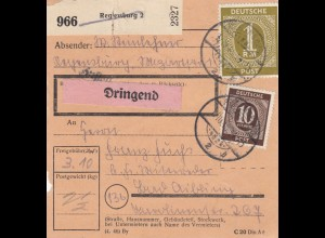 BiZone Paketkarte 1948: Regensburg nach Bad Aibling, Dringend