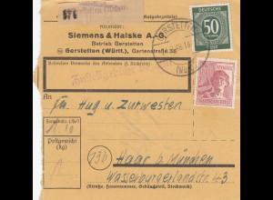 BiZone Paketkarte 1948: Gerstetten Württ. nach Haar, Selbstbucher
