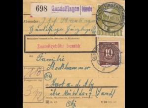 BiZone Paketkarte 1948: Gundelfingen nach Hart a.d. Alz