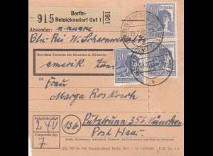 BiZone Paketkarte 1948: Berlin-Reinickendorf nach Putzbrunn