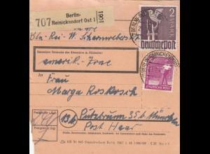 BiZone Paketkarte 1948: Berlin-Reinickendorf nach Putzbrunn, Post Haar