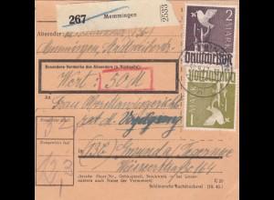 BiZone Paketkarte 1947: Memmingen nach Gmund am Tegernsee, Wertkarte