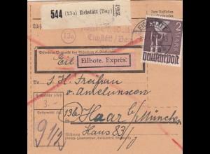BiZone Paketkarte 1948: Eichstätt nach Haar, Eilbote Exprès