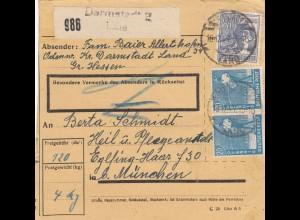 BiZone Paketkarte 1947: Darmstadt Land nach Eglfing Haar, Anstalt