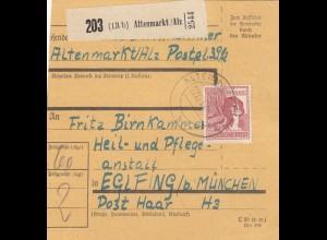 BiZone Paketkarte 1947: Altenmarkt nach Eglfing, Heilanstalt