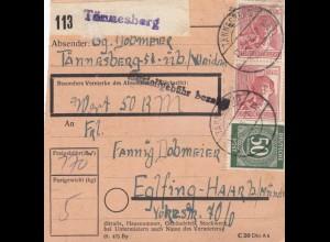 BiZone Paketkarte 1948: Tännesberg nach Eglfing Haar, Wertkarte